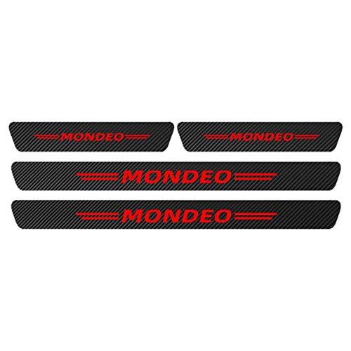 JPVGIA Carbon-Faser-Aufkleber Auto-Pedal-Guards Threshold-Dekor-Abziehbild-Auto-Tür-Schwellen-Schutz-Aufkleber for Ford Mondeo MK3 MK4 Zubehör (Color : Red)