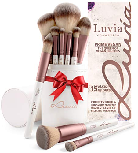 Luvia Pinselset Make-Up, Beauty Brush-Set Prime Vegan, Schminkpinsel Inkl. Edlem Pinselhalter &...