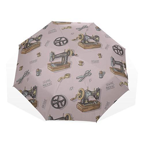 Lightweight Compact Umbrella Retro Cartoon Sewing Machine Clothing 3 Fold Art Umbrellas(outside Printing) Best Travel Umbrella Kid Sun Umbrella Folding Beach Umbrella