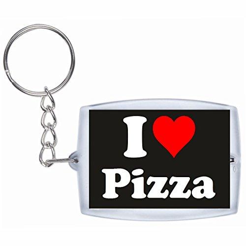 Druckerlebnis24 Schlüsselanhänger I Love Pizza in Schwarz - Exclusiver Geschenktipp zu Weihnachten Jahrestag Geburtstag Lieblingsmensch