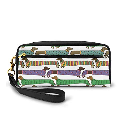 Pencil Case Pen Bag Pouch Stationary,Cartoon Style Dachshunds Dressed in Pyjamas Chevron Lines Polka Dots and Hearts,Small Makeup Bag Coin Purse
