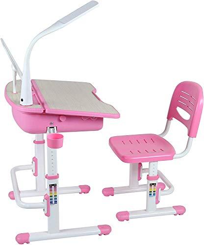 Leomark Ergonomisch Kinderschreibtisch SMART - Farbe Pink - Schreibtisch und Stuhl höhenverstellbar mit Schublade + LED Lampe + zusätzlich LED- Band kostenlos