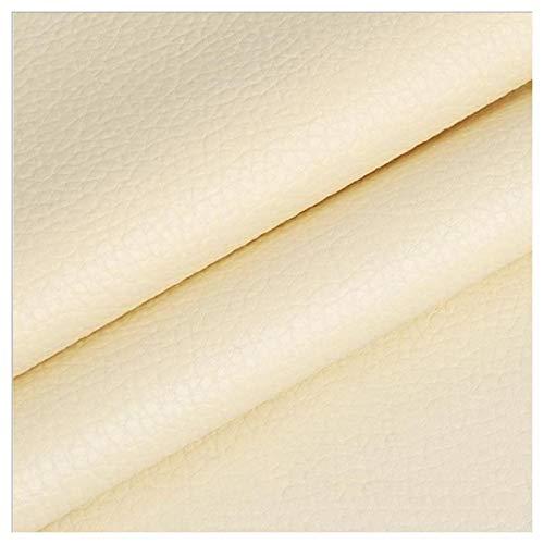 LILAMP Material Texturizado de Tapicería de Cuero Sintético Resistente de Tela de Imitación de Cuero - Color Crema 1 Metro 100 Cm X 140 Cm(Size:1.4x1m)