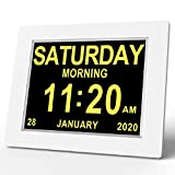 Digital Calendar Day Clock,Digital Memory Loss Day Clock with Digital Photo Frame, Extra Large Non-Abbreviated Day & Month for Seniors Visually Impaired Blinds Elderly Alzheimer (WHITE3)