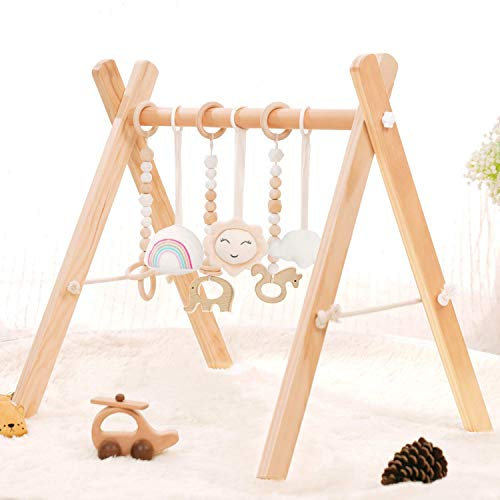 HAN-MM Wooden Baby Gym with 6 Wooden Baby Toys Foldable Baby Play Gym Frame Activity Gym Hanging Bar Newborn Gift Baby Girl and Boy Gym (Natural Color)