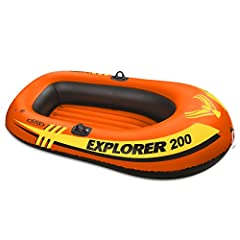 "The Intex Explorer is perfect for the pool or lake Inflatable floor for comfort and rigidity Grab rope on bow ; Welded oar locks; U.S. Coast Guard I.D. 2 air chambers with double valves; Repair patch included Measures 73"" x 37"" x 16""; Weight capacity..."