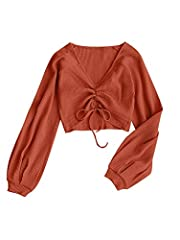 ZAFUL Textured Cinched Raglan Sleeve Crop Top Material: Cotton, Polyester The top features a long, raglan sleeves with a cute gathered detail at the front and a cropped fit Incredibly soft and comfy,the cinched top creates an alluring plunging neck. ...