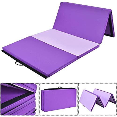 Giantex Gymnastics Mat Thick Folding Panel Gym Fitness Exercise Mat (Purple/Pink 4'x10'x2)