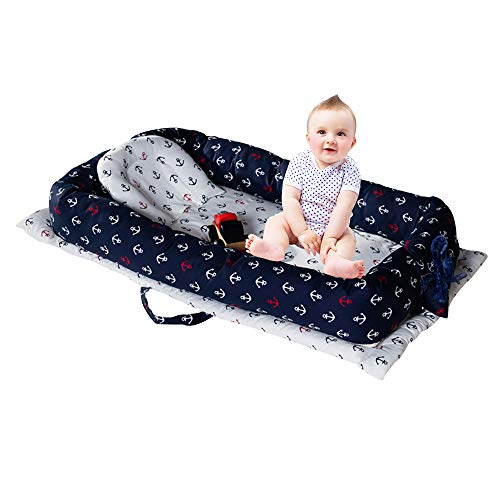 Brandream Baby Nest Bed, Baby Bassinet for Bed, Nautical Newborn Infant Co-Sleeping Portable Cribs & Cradles Lounger Cushion, White Navy Anchor Printed, 100% Breathable Cotton