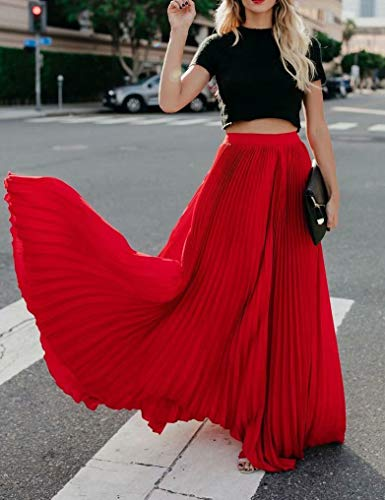 Frecoccialo Falda Plisada Mujer de Moda Larga Cintura Elástica Alta Eleganete Falda Maxi en Color Liso Falda Vintage (Rojo,L)