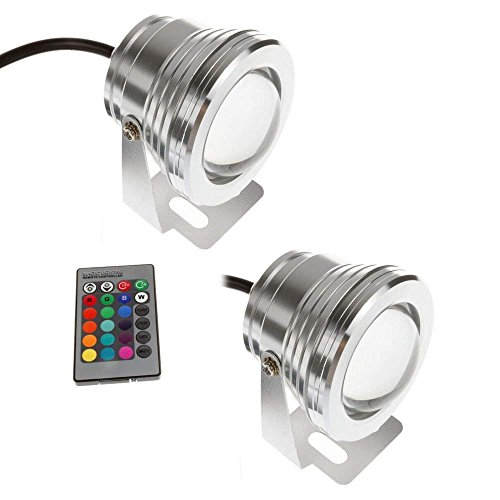 BoomBoost 2PCS 7 Farben 10W 12V RGB LED Unterwasserbrunnen-Licht 1000LM Swimmingpool-Teich-Fisch-Behälter-Aquarium-LED helle Lampe IP67 imprägniern