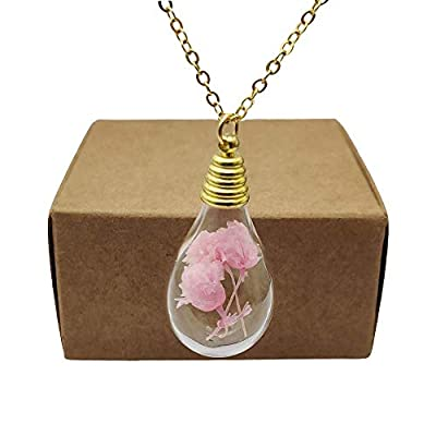 Rose Épanouissement Babysbreath Vraie Fleur Verre Goutte d'eau Plaqué Or 18k Chaîne Colliers avec pendentifs