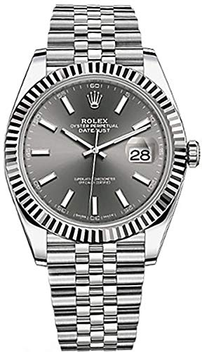 Men's Rolex Datejust 41 Dark Rhodium Dial Stainless Steel Watch on Jubilee Bracelet