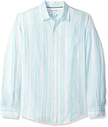 Amazon Essentials - Camicia da uomo in lino, con stampa, a maniche lunghe, aderente, Aqua Stripe, US XXL (EU XXXL - 4XL)