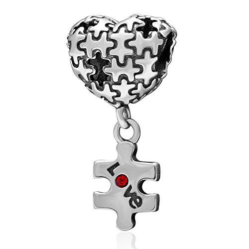 Encanto del rompecabezas de plata esterlina 925 corazón amor encanto de cristal rojo encanto aniversario encanto para pulsera