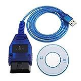 KKL 409.11 - Cable de escáner de diagnóstico OBD2 para coche (2 V, conector USB a toma de 16 pines, 150 cm, incluye controlador de CD para PC Engine