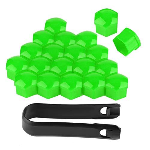 Cubiertas para tuercas de orejeta, tuercas de coche de 19 mm, protegen los pernos de las ruedas de su automóvil para la cubierta protectora del filtro de(green)
