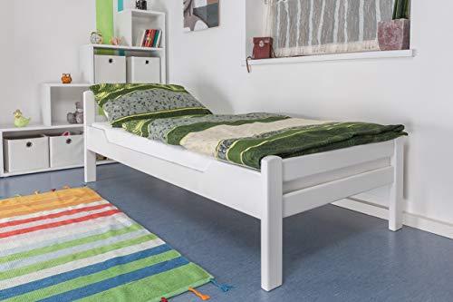 """Einzelbett\""""Easy Premium Line\"""" K1/2n, Buche Vollholz massiv weiß lackiert - Maße: 90 x 200 cm"""