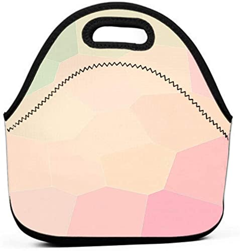 Bolsa de almuerzo linda lonchera grande reutilizable bolsa de almuerzo hermoso abstracto verde claro castor rosa arena gigantes hexágono agradables tus necesidades Marca de agua