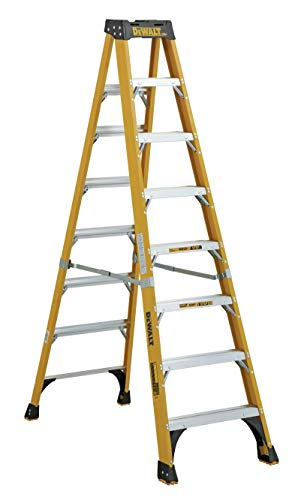 DeWalt 8-Foot Fiberglass Step Ladder, 375-Pounds Load Capacity, Type IAA, Manufacturer Tested To 500-Pounds, DXL3810-08