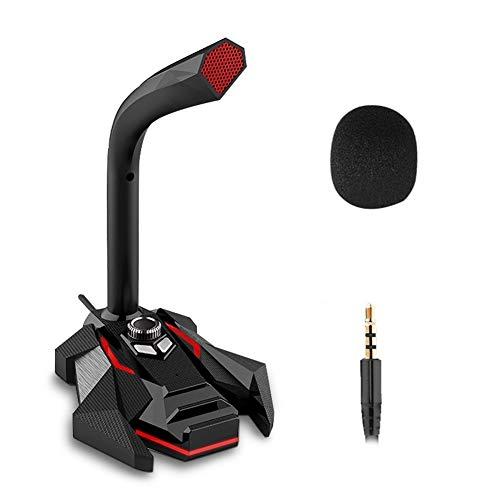 Dynamische condensatormicrofoon met bekabelde microfoon voor studio, USB naar 360 gaming pc, voor computer, desktop, professional, dual mic led (kleur: rood 3,5 mm)