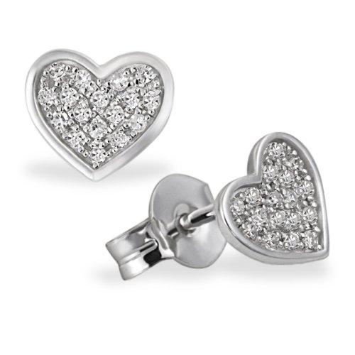 Goldmaid Damen-Ohrstecker Pavee Herzen 585 Weißgold 34 Diamanten SI/H 0,14 ct. Herz-Ohrringe