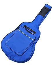 Supvox Funda de Guitarra Acústica Funda de Nylon Acolchada Y Resistente Al Agua Estuche de Viaje con Correas Dobles Ajustables para Adultos Azul
