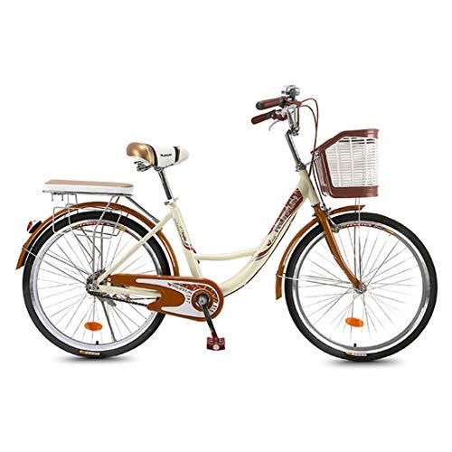 CStern Adult Commuter Retro Bike Beach Cruiser Bike with Basket (Beige, 26 Inch)
