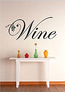 Top Selling Decals - Prices Reduced : Vinyl Wall Sticker : Wine Grapevine Kitchen Dining Image Quote Bedroom Bathroom Living Room Picture Art Peel & Stick Mural Bar Bars Size: 8 Inches X 20 Inches