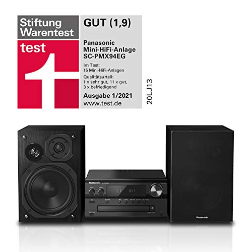 Panasonic - Sistema Micro HiFi (120 Watt RMS, radio digitale DAB+, CD, radio FM, Bluetooth, USB, AUX), colore: Nero, SC-PMX94EG-K single Nero