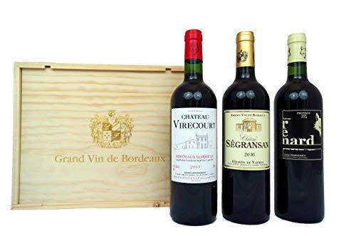 Grand Vin Geschenkset 'Rotwein aus Bordeaux' in Holzkiste (3 x 0.75 l)