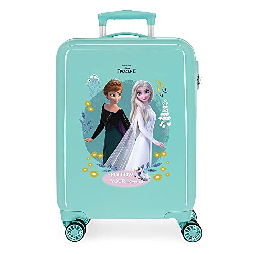 Disney Frozen Follow Your Dreams Maleta de Cabina Azul 38x55x20 cms Rígida ABS Cierre de combinación Lateral 34 2 kgs 4 Ruedas Dobles Equipaje de Mano