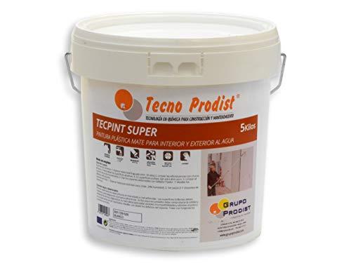 TECPINT SÚPER de Tecno Prodist - 5 Kg (BLANCO) Pintura para Exterior e Interior al Agua - Buena Calidad - Lavable - Fácil Aplicación