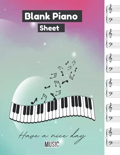 Blank Piano Sheet, Modern abstract background with cloudy sky elements colorful planets pastel gradation with theme solar system digital technology cover, 100 pages