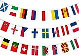 Bandera de 24 equipos participantes del Campeonato de Europa de Fútbol, banderines de tela para decoración de fiesta de Eurovisión para jardín, bar, restaurante y hogar, 14 x 21 cm
