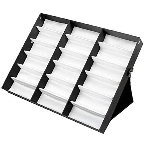 18 Gafas de cuadrícula Mostrar caja plegable Tapa de sol Caja de almacenamiento Organizador Soporte Soporte