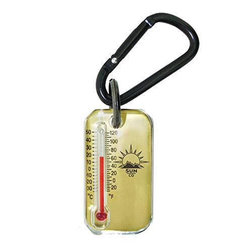 Sun Company Latón Zip-o-gage - Termómetro de cremallera para chaqueta, parka o mochila | Termómetro para exteriores con mosquetón y tabla de sensación térmica en la parte posterior