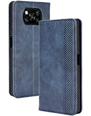 FANFO® Telefoonhoes voor Xiaomi Poco X3 Pro/Xiaomi Poco X3 NFC Hoesje, Premium Lederen Portemonnee Omslag Magnetische Sluitingen Flip Folio Book Style Case Cover, Blauw