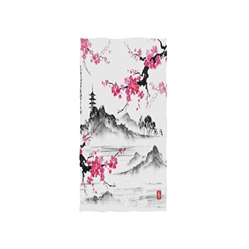 MNSRUU Japanische Kirschblüten-Ölgemälde Kunst weiches Bad Hotel Spa HandGym Sport Handtuch 76 x 38 cm (30 x 15 Zoll)