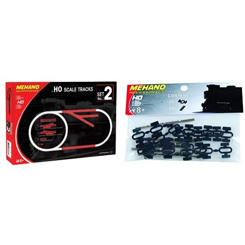 Mehano Accesorios para Pistas, Track Set No.2, Escala H0 (F102) + Set Conectores de Carril y Clips, Color Nero, h0 (F246)
