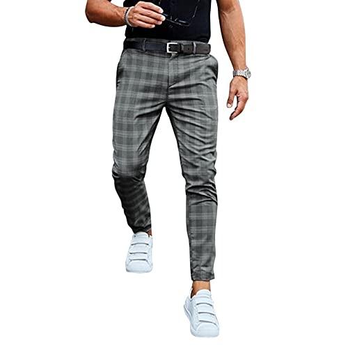 Pantalones Chinos Para Hombre Pantalones Largos Rectos Casuales Pantalones De Chándal A Cuadros Pantalones De Jogging Pantalones De Negocios Elegantes Pantalones De Traje Slim Fit (Sin Cinturón)