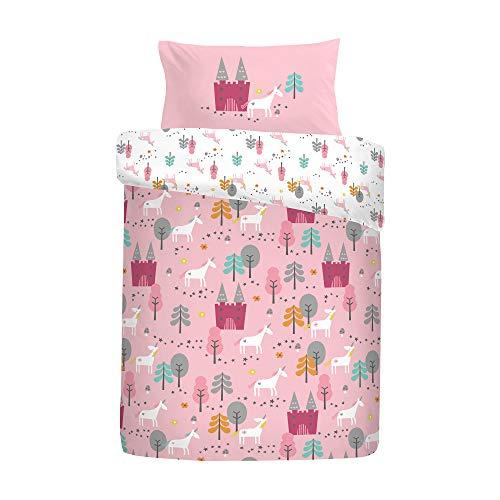 Cosatto: 100% Cotton Cot Duvet Cover and Pillowcase Set - 90cm x 120cm (Unicorn Land - Pink)