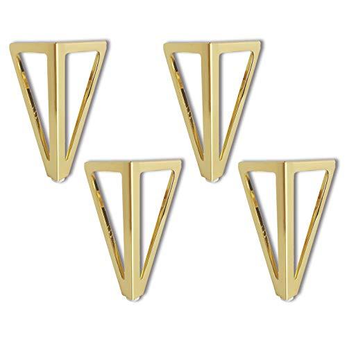 4 patas de metal de repuesto para muebles, 15 cm, triangulares, doradas, para muebles, muebles, muebles, muebles, para sillas, armarios y sofás, etc.