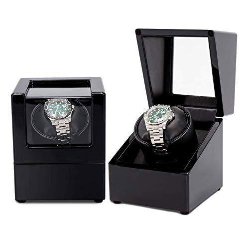 SMSOM Binder automático de un Solo Reloj con Relojes duraderos Almohada Tranquila Motor Estable PU + Wood Watch Turner Box Reloj de Motor Spinner Case Fit Dama y Hombre Relojes