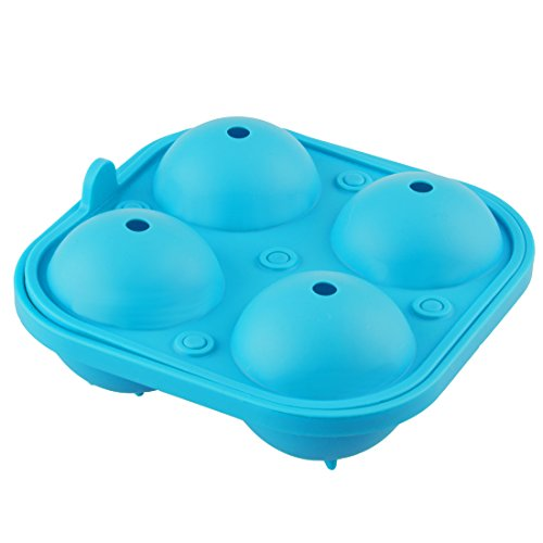 LEVIVO Molde, Silicona, Azul, 4 Cuatro Cubitos de Hielo