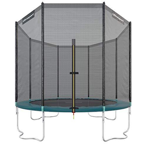 Ultrasport Outdoor Gartentrampolin Jumper, Trampolin Komplettset inklusive Sprungmatte, Sicherheitsnetz, gepolsterten Netzpfosten und Randabdeckung, bis zu 150 kg, grün, Ø 305 cm