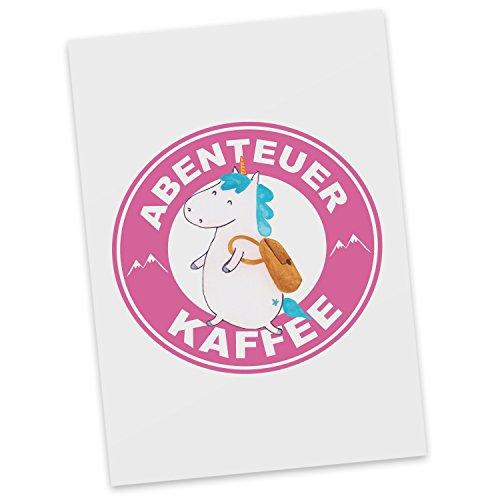 Mr. & Mrs. Panda Postkarte Einhorn Abenteuer Kaffee - 100% handmade in Norddeutschland - Kaffee, Urlaub, Einhorn, Kaffeetasse, Einhornkaffee, Abenteuer, Reisen, Tasse, Coffee, Unicorn, Latte, Unicorn latte, Einhornlatte Postkarte, Geschenkkarte, Grußkarte, Klappkarte, Karte, Einladung