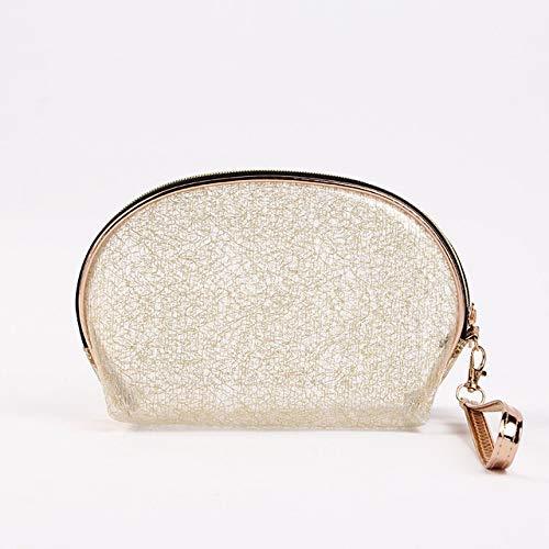 JIACHEN Bolsa de cosméticos semicírculo transparente de PVC de moda, bolsa de almacenamiento portátil, para bolsos, fundas para mujeres, regalos (color dorado