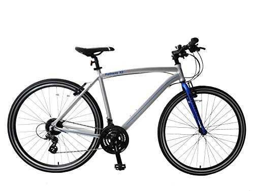 Ammaco. Pathway X2 700c Hybrid Trekking Mens Sports Commuter Urban Bike 19' Frame Lightweight Alloy Silver/Blue 24 Speed