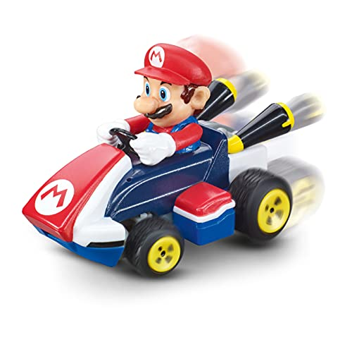 Carrera Mini RC Mario Kart mit Mario I Ferngesteuertes Auto ab 6 Jahren für drinnen & draußen I Mini Mario Kart Auto mit Fernbedienung zum Mitnehmen I Spielzeug für Kinder & Erwachsene